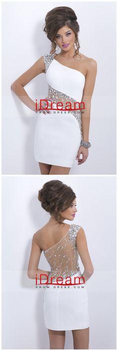 Sheath Short Mini One Shoulder Beaded With Elegant Sheer Back Sexy Prom Dresses