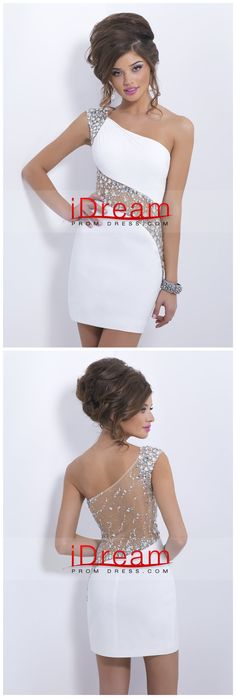 Sheath Short Mini One Shoulder Beaded With Elegant Sheer Back Sexy Prom Dresses