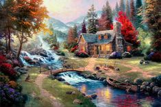 Thomas Kinkade Art Oil Painting - Mountain Paradise on canvas 100% Free shipping