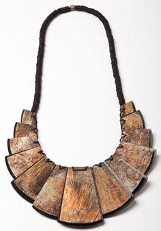 Overdyed and Toasted Horn Samourai Neckpiece (Ebony - $970)