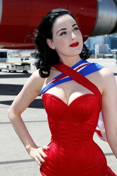 Dita Von Teese in a specifically commissioned Dark Garden corseted bathing suit