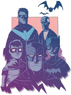 Bat-Family by Dan Hipp. Very Hellboy-ish. Very awesome.