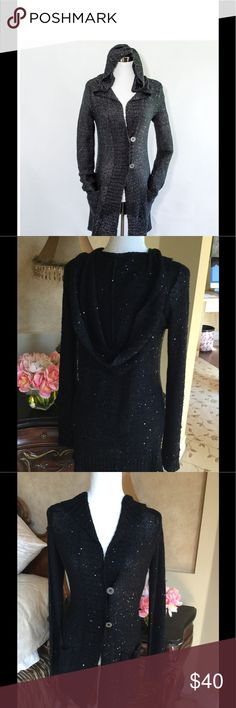 Long Cardigan Knit Hooded Pocket Sweater Black Sequins, hooded with pockets. Muche et muchette Sweaters Cardigans