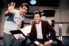 """Leonard Nimoy directs William Shatner on the set of """"Star Trek III: The Search for Spock."""" In addition to """"Star Trek III"""" and """"IV,"""" Nimoy's other directing credits include the comedy """"Three Men and a. William Shatner, Star Trek Iii, Star Wars, Star Trek Original Series, Star Trek Series, Leonard Nimoy, Stephen Hawking, Alien Nation, Science Fiction"""