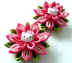 Kanzashi fabric flowers Set of 2 ponytails Hot pink lt by JuLVa