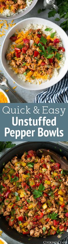 These Unstuffed Pepper Bowls are the BEST! They're layered with store-bought cauliflower rice (white or brown rice may be substituted), cheddar, and a seasoned ground turkey and bell pepper mixture. Just think unstuffed bell peppers - meaning all the flavor without all the hassle! #stuffedpeppers #stuffedpepperbowls #healthy #dinner #recipe #groundturkey #groundbeef