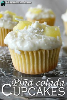 Pina Colada Cupcakes from dishesanddustbunnies.com