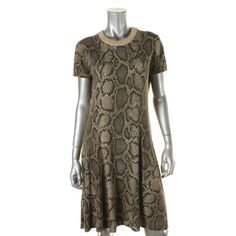 MICHAEL Michael Kors Womens Metallic Ribbed Trim Sweaterdress