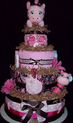 Modern Pink and Brown Paisley Diaper Cake by CutiePieGifts on Etsy, $85.99