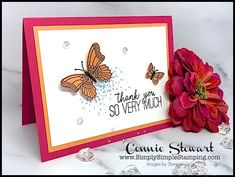 Learn how to make a thank you card with simple stamping steps in a bright and fun color combination. This thank you card can be made in minutes! Simple Butterfly, Butterfly Cards, Thank You Greetings, Thank You Cards, Stampin Up Catalog, Pocket Cards, Greeting Cards Handmade, Diy Cards, Some Fun