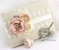 Wedding Guest Book and Pen Set Large Shabby Chic by SolBijou, $140.00