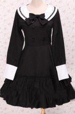 Black Round Neck Long Sleeve School Sailor Lolita Dress