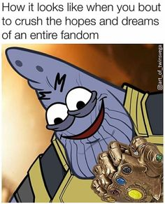 Patrick as Thanos is the best thing you'll pin today