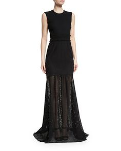 Sleeveless Eyelet Mermaid Gown, Black by Cushnie et Ochs at Bergdorf Goodman.