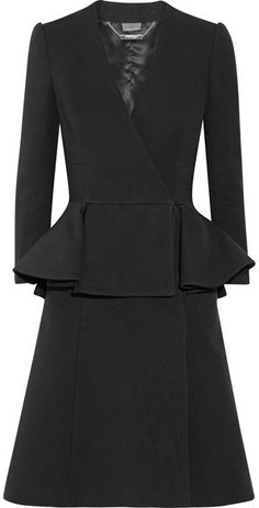Alexander McQueen - Double-breasted Wool And Silk-blend Peplum Coat - Black