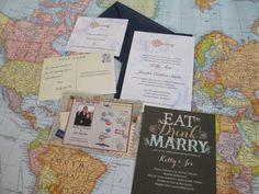 travel theme wedding stationary