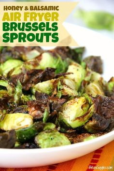 Honey and Balsamic Air Fryer Brussels Sprouts - Crispy and flavorful brussels spouts with notes of honey and balsamic. This is the only way I prepare brussels sprouts now! Air Fry Recipes, Sprout Recipes, Side Dish Recipes, Cooking Recipes, Healthy Recipes, Ninja Recipes, Honey Recipes, Ww Recipes, Fish Recipes