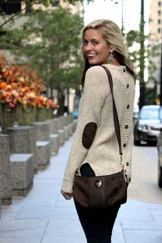 sweater with button up back and elbow patches- love!