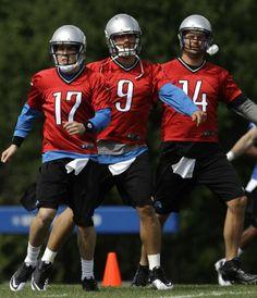 Detroit Lions quarterbacks Kellen Moore (17), Matthew Stafford (9), and Shaun Hill (14) June 4, 2012