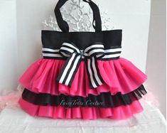 Your place to buy and sell all things handmade Cartoon Bag, Black Tutu, Potli Bags, Black White Stripes, Pink Black, Princess Tutu, Jacket Pattern, Couture, Large Bags