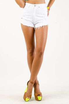 High-Waist Distressed Denim Shorts $19.99