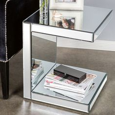 Cosette Side Table Mirrored Furniture, Cool Furniture, Furniture Design, Metallic Furniture, Decoration Inspiration, Interior Decorating, Interior Design, End Tables, Bedside Tables
