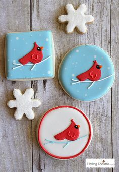 Cardinal Red Bird Christmas Printables & Cookies