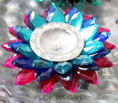 Beaded Lotus Floating Tealight Candle holder - Diya - Pink, dark blue, blue by Nirman