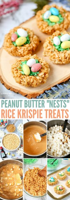 "Easter Rice Krispie Treats Peanut Butter ""Nests"" are just as fun to make as they are to eat. Whether for Easter, spring or any time of the year, these peanut-butter flavored treats are a fun twist on a classic."