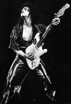 The Electric Warrior himself, Marc Bolan on stage with T-Rex in the early 1970s