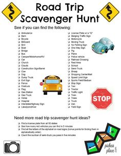 Travel Activities for Kids: Ways To Keep Children Entertained When Traveling as a Family - Road Trip Scavenger Hunt for Kids Printable -