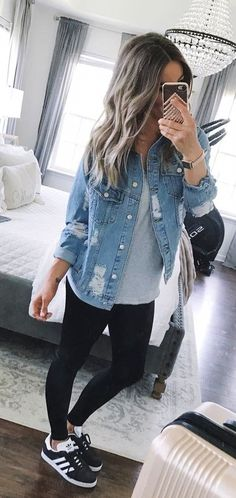 #fall #outfits blue washed denim button-up jacket