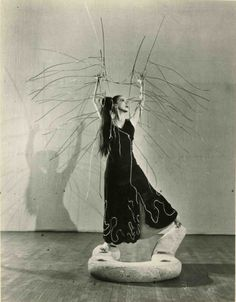 "Martha Graham on Isamu Noguchi's Sculpture- Set Piece for Graham's Dance ""Cave of the Heart,"" New York City, 1946"