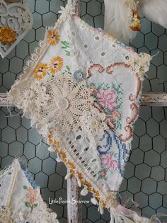 Your place to buy and sell all things handmade Wedding Props, Decor Wedding, Fabric Crafts, Diy Crafts, Doilies Crafts, Origami, Linens And Lace, Flower Applique, Bedroom Art