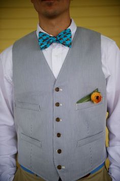 Seersucker Suit: J.Crew / Bow Tie: Southern Proper  for Groom's men