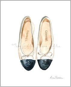 Chanel Ballerinas (Print), Shoes, Fashion Illustration, Chanel Illustration, Fashion Wall Decor, Fashion Poster, Art Poster, Chanel Style. #fashionillustration by #IrinaSibileva