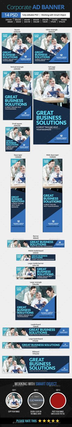 Corporate and Business Web Banners | #businessbanner #corporaebanner | Download: http://graphicriver.net/item/corporate-and-business-web-banners/10367163?ref=ksioks