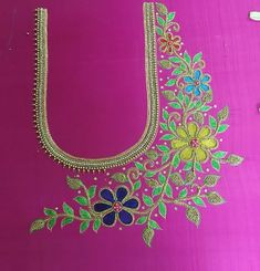 Hand Work Blouse Design, Simple Blouse Designs, Fancy Blouse Designs, Bridal Blouse Designs, Simple Designs, Hand Embroidery Design Patterns, Bead Embroidery Tutorial, Flower Embroidery Designs, Flower Designs