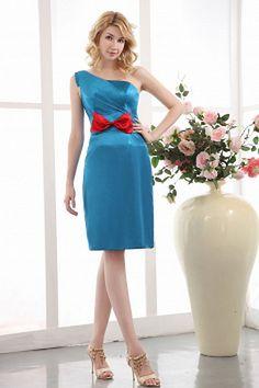 One-shoulder Romantic Blue Mother Of Bride Dress - Order Link: http://www.theweddingdresses.com/one-shoulder-romantic-blue-mother-of-bride-dress-twdn1213.html - Embellishments: Bowknot; Length: Knee Length; Fabric: Satin; Waist: Natural - Price: 130.59USD