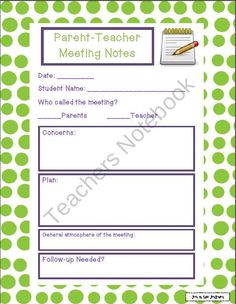 Parent-Teacher Meeting Notes product from Joy-in-the-Journey on TeachersNotebook.com