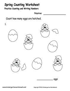 Kindergarten Spring Counting Worksheet Printable