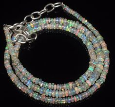 """25 CTW 2-4 MM 16""""NATURAL GENUINE ETHIOPIAN WELO FIRE OPAL BEADS NECKLACE-R3481"""