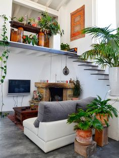 This luminous house was designed, created and decorated by Campoloco, showcasing antique furnishings mixed with plants, located in Cantabria, Spain.
