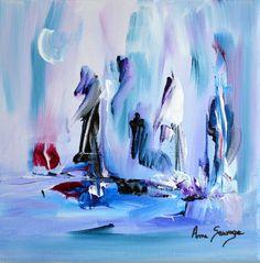 Une vie au froid. 20 x 20 cm. 45 € Peinture abstraite sur toile unique et originale peinte à la main par l'artiste peintre Ame Sauvage