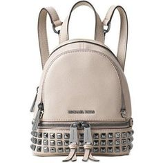 Michael Kors Rhea Extra-Small Studded Leather Backpack - Cement - 30T6TEZB5L-092