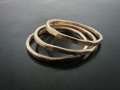 HAMMERED STACKABLE RINGS - YELLOW GOLD - Jelena Behrend Studio