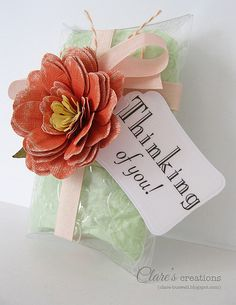 What a gorgeous handmade paper flower on this box...Pillow Box with paper flower by clare272, via Flickr