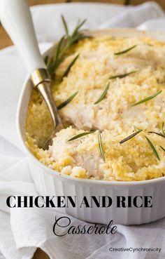 Simple chicken and rice casserole recipe like Mom used to make. Whip this up in no time & have a family-friendly meal on the table on the busiest of nights.