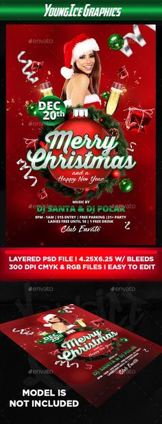 Christmas Flyer Template - Clubs & Parties Events Christmas Flyer Template - 300 DPI - Size: 4.25×6.25 inches with Bleeds - Layered psd files - CMYK & RGB - Organized Folders