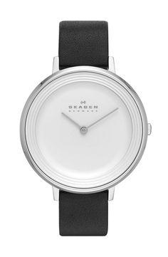 Skagen 'Ditte' Textured Dial Leather Strap Watch, 37mm